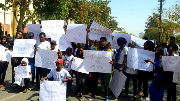 नाइजीरियाई छात्रों  का प्रदर्शन