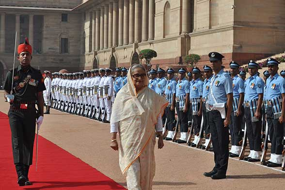बांग्लादेश की प्रधानमंत्री शेख हसीना का रष्ट्रपति भवन में औपचारिक स्वागत