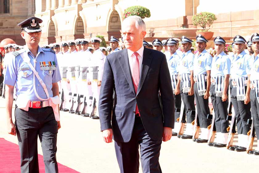 ऑस्ट्रेलिया के प्रधानमंत्री  टर्नबुल का  स्वागत