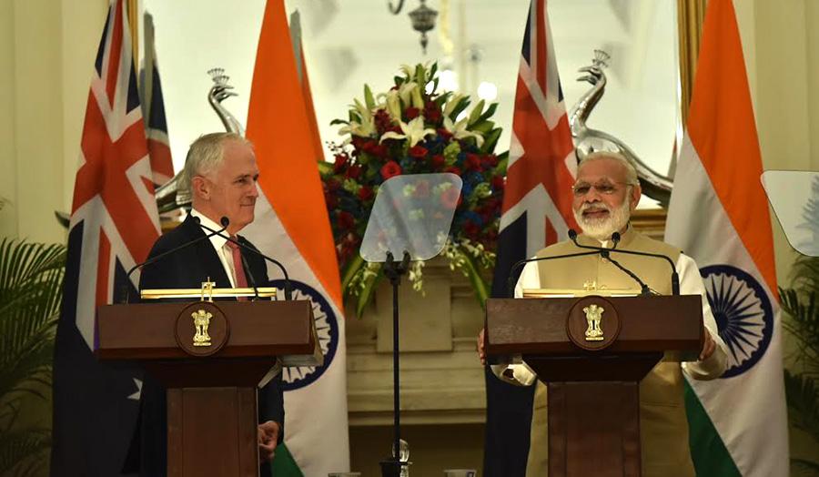 साझा प्रेस कान्फ्रेंस में एक साथ ऑस्ट्रेलिया और भारत के प्रधानमंत्री