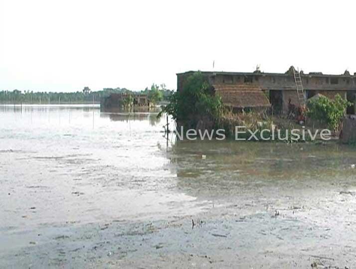 गांवों में जलभराव की स्थिति