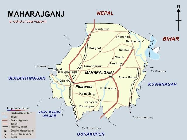 महराजगंज का मानचित्र