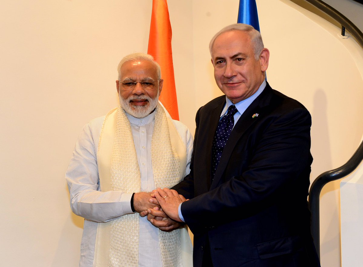 बेंजामिन नेतन्याहू (इजरायल के प्रधानमंत्री) और  प्रधानमंत्री नरेंद्र मोदी