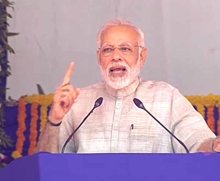 जनसभा को संबोधित करते प्रधानमंत्री नरेंद्र मोदी