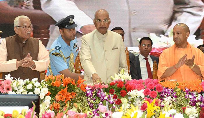 राष्ट्रपति राम नाथ कोविंद, सीएम योगी और राज्यपाल राम नाइक