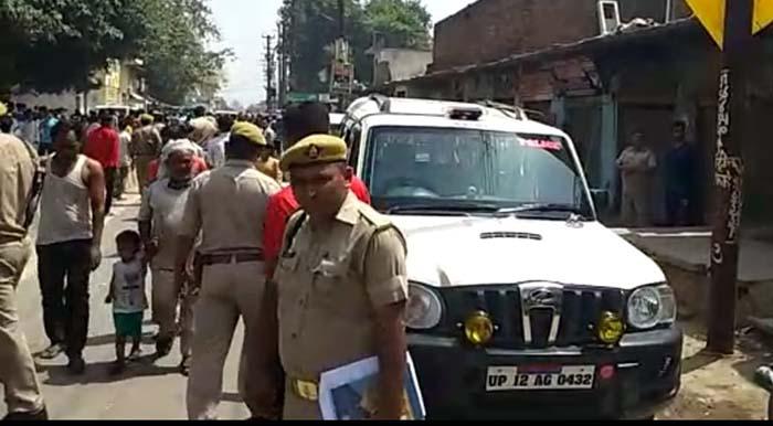 घटनास्थल पर मौजूद पुलिस टीम