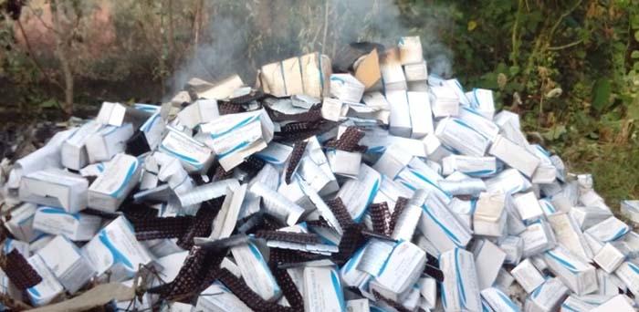 आग के हवाले की गई दवायें