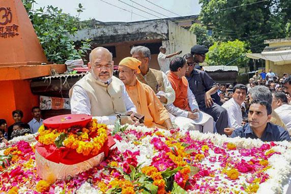 हरिद्वार में अटल अस्थि कलश यात्रा के दौरान भाजपा अध्यक्ष अमित शाह (फाइल फोटो)