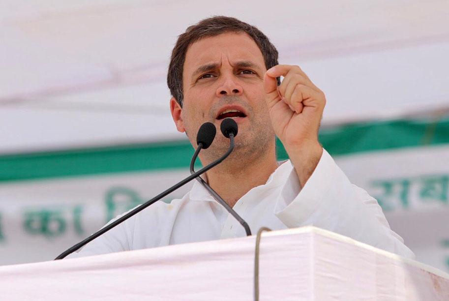 मुरैना में जनसभा को संबोधित करते कांग्रेस अध्यक्ष राहुल गांधी