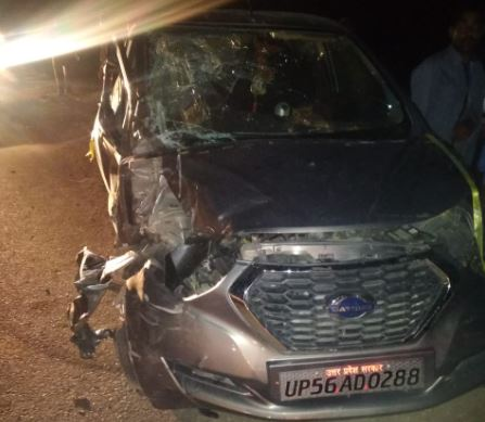 घटना के बाद गाड़ी क्षतिग्रस्त