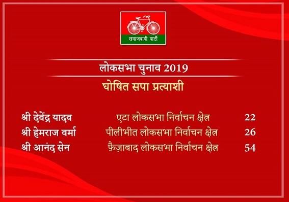 समाजवादी पार्टी ने घोषित किए तीन और लोक सभा के उम्मीदवार