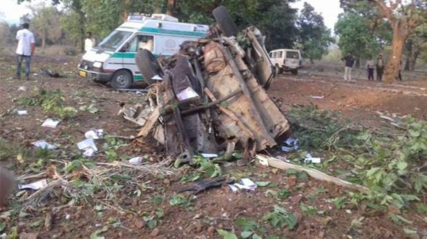 नक्सलियों द्वारा उड़ाई गई बीजेपी विधायक की कार