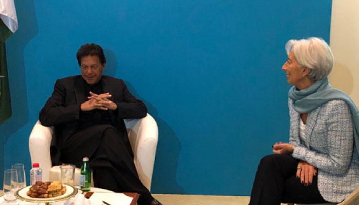 इमरान खान और आईएमएफ प्रमुख क्रिश्चियन लेगार्ड