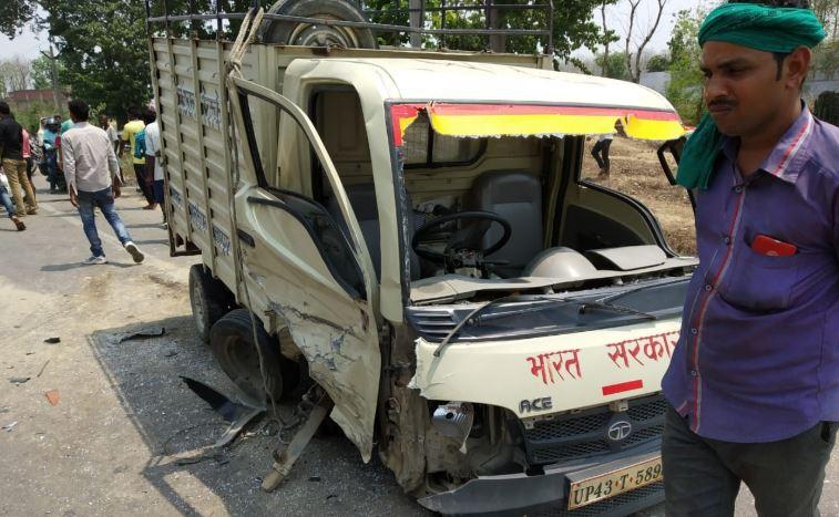 दुर्घटना के बाद क्षतिग्रस्त मैजिक