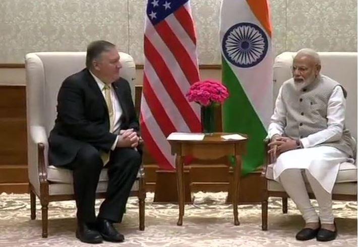 अमेरिकी विदेश मंत्री माइक पोम्पियो ने प्रधानमंत्री नरेन्द्र मोदी से की मुलाकात