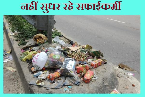 सड़कों पर पड़ा कचरे का ढेर