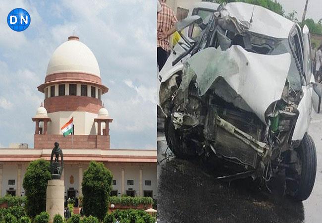 बांये सुप्रीम कोर्ट व दांंये दुर्घटनाग्रस्त कार (फाइल फोटो)