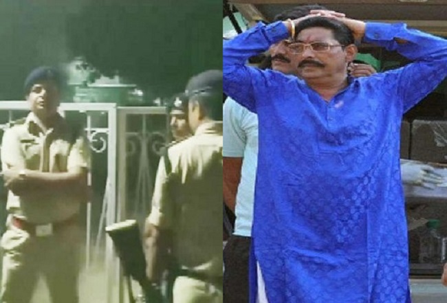 बांये गिरफ्तार करने पहुंची पुलिस और दांये अनंत सिंह (फाइल फोटो)