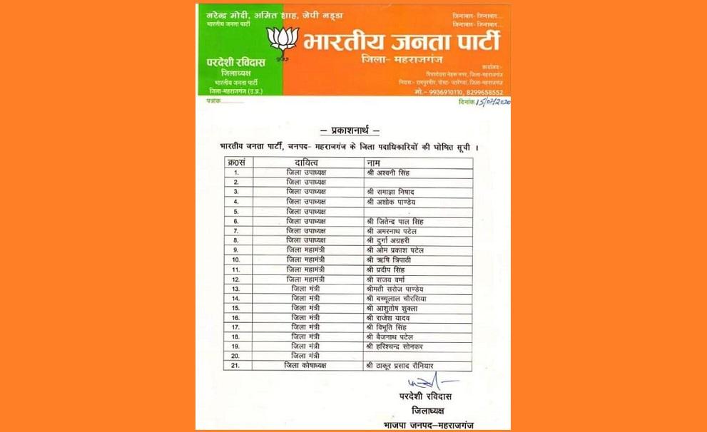 भाजपा के ज़िला पदाधिकारियों की सूची