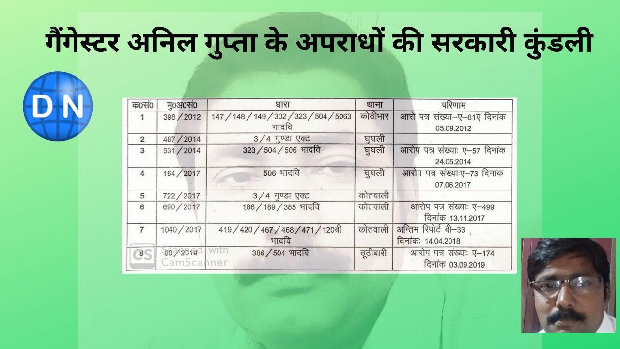 गैंगेस्टर अनिल गुप्ता के अपराधों की सरकारी कुंडली